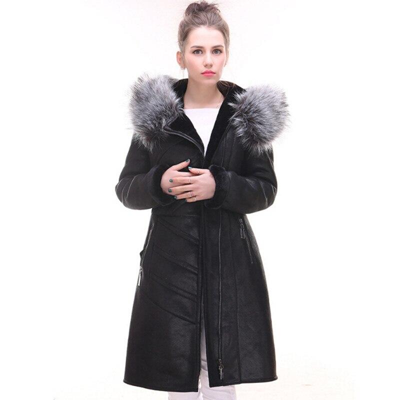 Femmes Mouton En Chaud Luxe Noir Avec Manteau De Réel Fourrure qHtI5Ixz