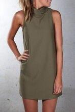 Women summer dresses 2018 Europe casual high collar sleeveless summer dress cheap cloth dropshipping vestidos NXB1027