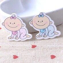 Синий/розовый без отверстий Смешанная деревянная пуговица детский узор скрапбукинга ремесло кнопки смешанные 50 шт ботинок Аксессуары 29x35 мм MT0379