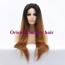 Free shipping Handmade straight Ombre brown Synthetic Lace Front Wig Heat Resistant Hair for White Women Long Natural Wigs