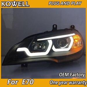 Image 4 - X5 ためkowellスタイリングヘッドランプヘッドライト 2007 2013 E70 エンジェルアイヘッドライトled drl信号ランプhidバイキセノン自動accessori