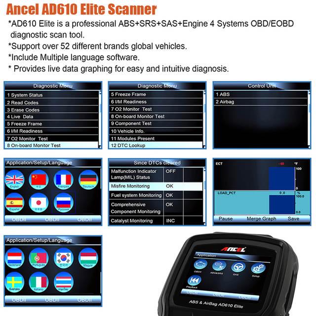 Original Ancel AD610 Elite ABS SRS Airbag Air Bag Crash Data Reset SAS Tool  Automotive Scanner Car Diagnostic Tool OBD2 Scanner