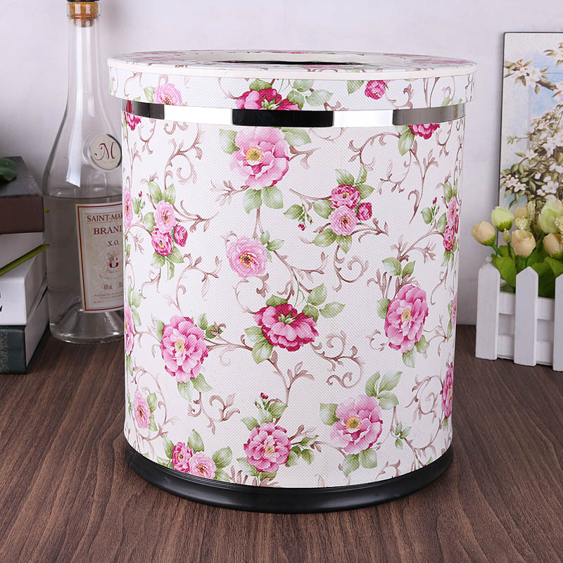 luxuriou PU leather trash bin round trash can kitchen metal Double layer With cover desktop bin for home decoration PLJT09
