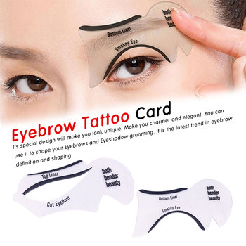 White 2Pcs Eyeliner Stencils Winged Eyeliner Stencil Models Template Shaping Tools Eyebrows Template Card Eye Shadow Makeup Tool