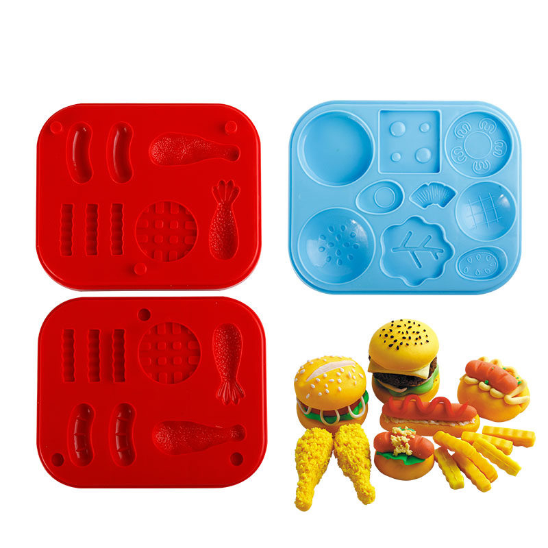 12cm Plasticine Clay Mold Tool Set Donuts Kids Burger Fries Hot Dog Silicone DIY Mold Tool Birthday Gift Toys Fluffy Slime