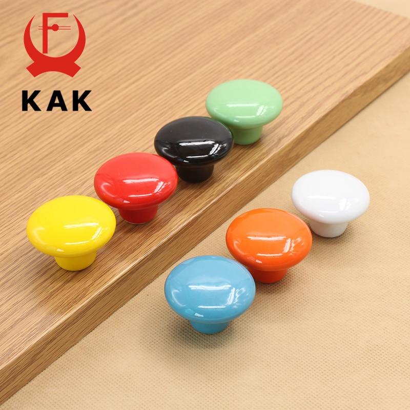 KAK Candy Color Round Furniture Knobs Ceramic Drawer Knobs Cabinet Pulls Kitchen Handle Furniture Handle For Kids Room Hardware