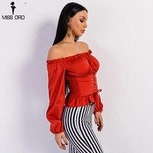Missord 2017 Sexy Off Shoulder Long Sleeve Belt Bandage Red Graceful Top FT8956