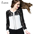 Women Shirts 2016 New Fashion Long Sleeve Lace Patchwork Chiffon Blouse Hollow Out White Ladies Office Shirt Top Femme Camisa
