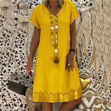 Large size Women's Dress 2019 new fashion print V-neck short-sleeved loose dresses