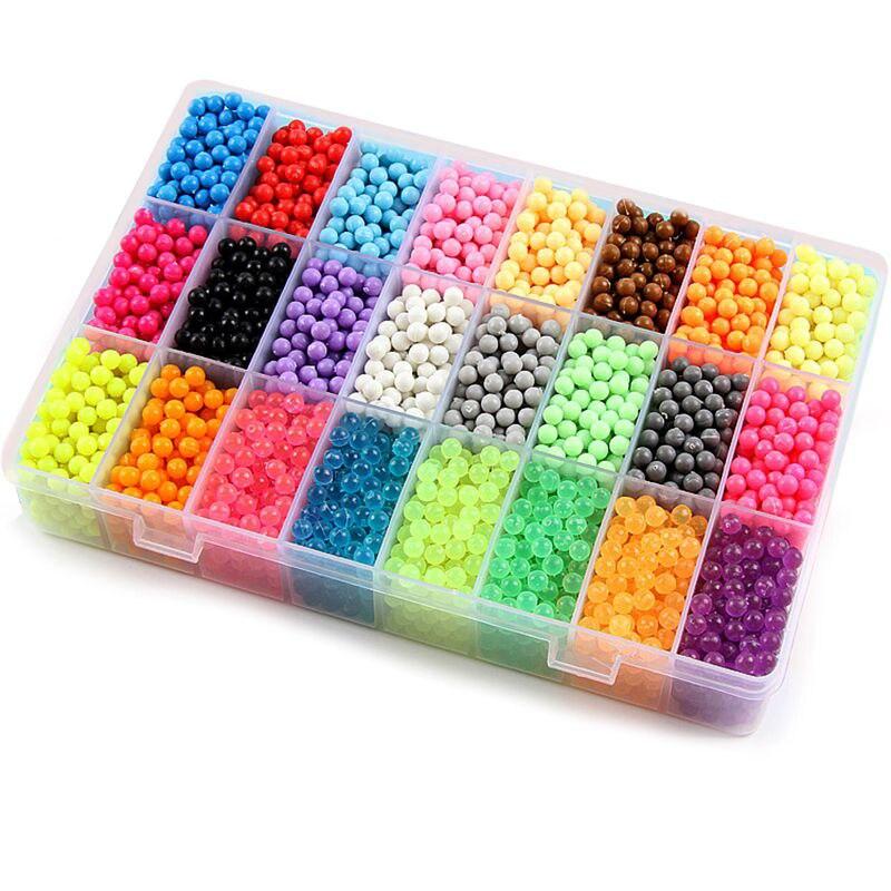 aquabeads 5200 piezas 24 colores cuentas de cristal de color DIY Aqua cuentas de agua juego juegos de pelota 3D hecho a mano juguetes Juguetes para los niños