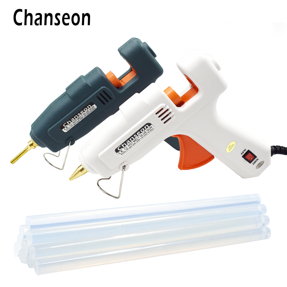 Chanseon EU 60W 100W Hot Melt Glue Gun With 11mm 10PCS Glue Sticks Industrial Guns Thermo Electric Heat Temperature Tool цена