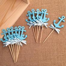 Bow & Blue Anchor Cupcake Toppers Selecciones para la Ducha de Bebé/de La Boda/Cumpleaños de Los Niños Náuticas Decoraciones Del Partido de La Torta de Accesorios suministros