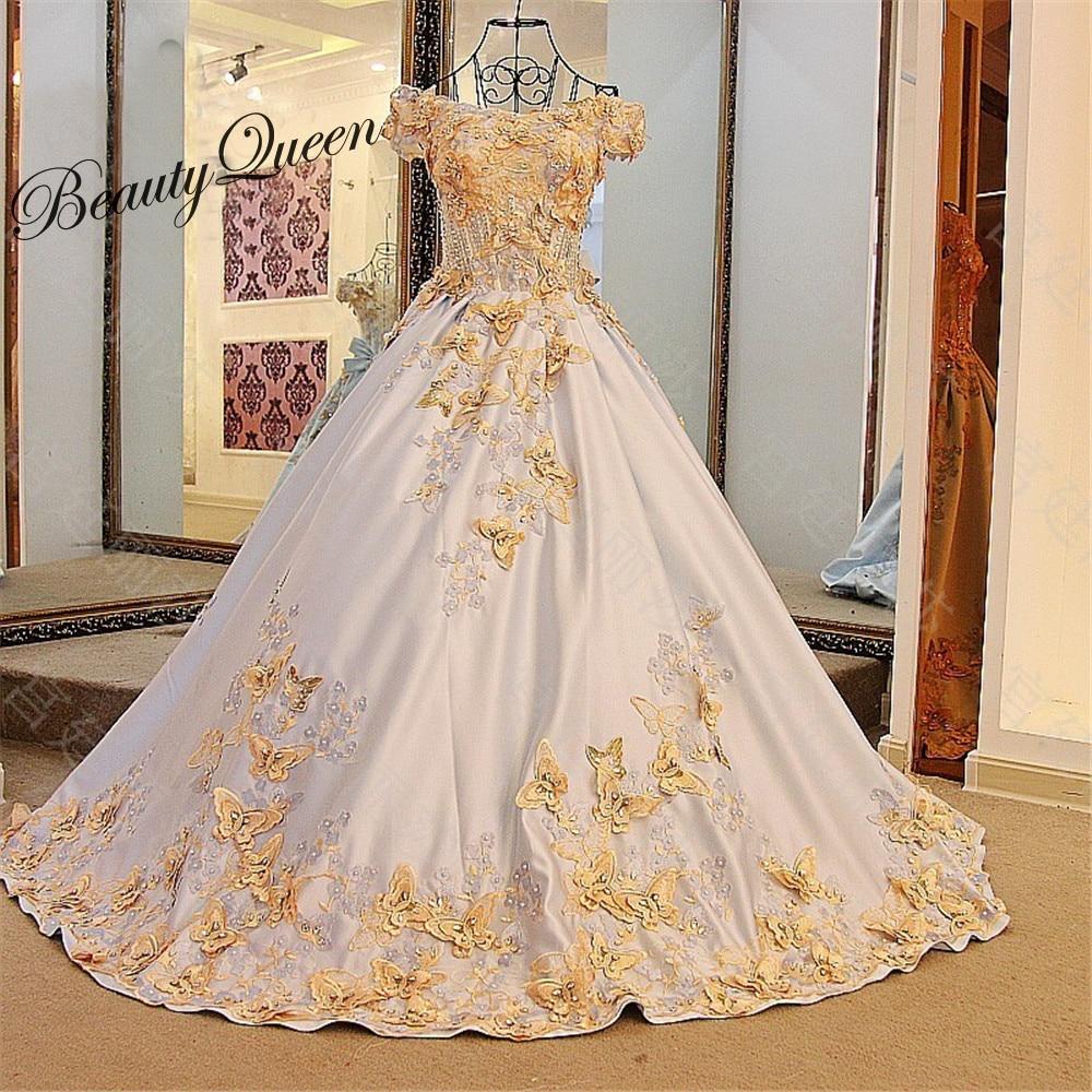 2017 Powder Blue Satin Wedding Dresses With Gold