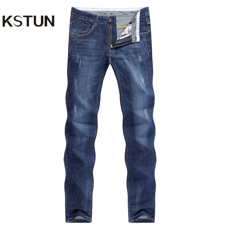 KSTUN Jeans Men Slim Straight Blue Spring And Summer Regular Fit Casual Pants Cotton Men's Clothing Trousers Male Jeans Hombre
