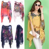 7f9eaeef557 Новые поступления 2017 женские блузки один размер цветочные женские топы  шифон летучая мышь Повседневная Блузка кимоно