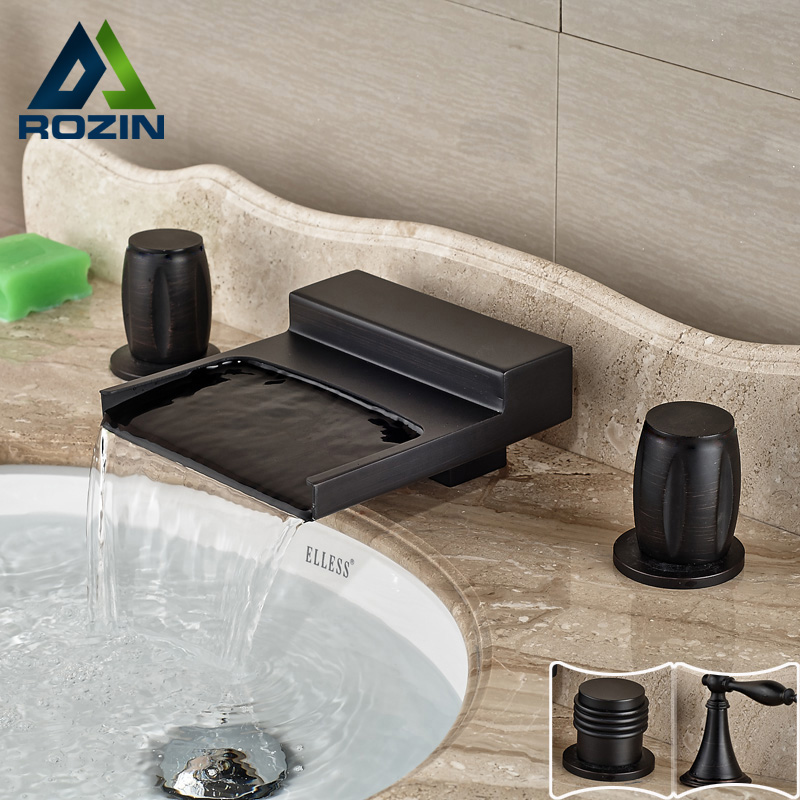 Modern Wide Waterfall Spout Dual Handle Basin & Bathtub Faucet Deck Mounted Brass Black Bathroom Sink Mixer Water Taps asrock h61m vg4 original used desktop motherboard h61 socket lga 1155 i3 i5 i7 ddr3 16g usb2 0 micro atx