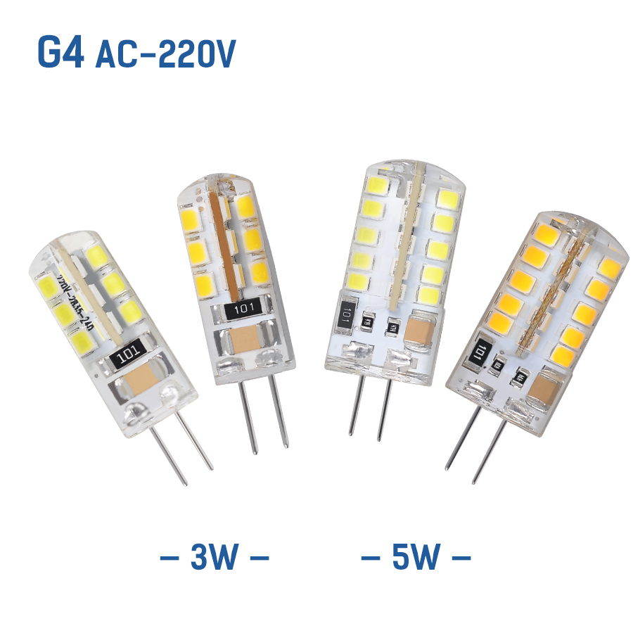 AC220V G4 Light Source 3W 5W LED Corn SMD2835 Bulb Super Bright Replace Halogen Lamp Led