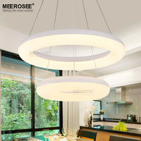 Suspension LED Chandelier Acrylic Chandeliers Lamp Rings For Dinning Room Bedroom Circle Lustre Lights White Finish