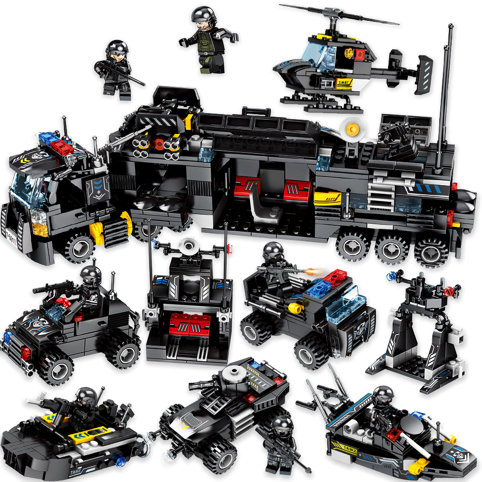 Toys 695PCS 8in1 Military command Truck SWAT Soldiers Building Blocks For Children Compatible Legoing Police DIY Bricks Drop