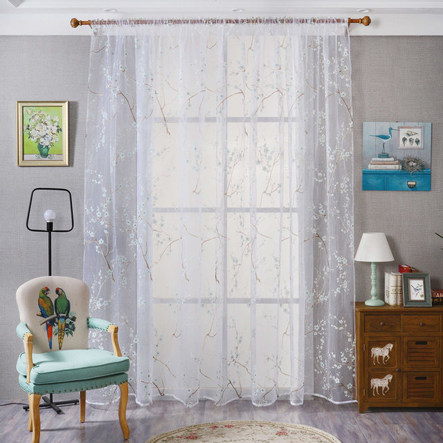1X2m Cheap Curtains Short Transparent Floral Tulle Fabrics Window Curtain Bedroom Living Room Home Decoration