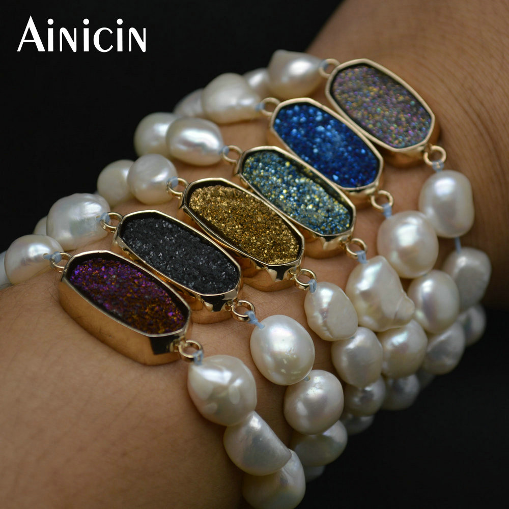 5pcs Mixed Color 10mm Natural Freshwater Pearl Bracelets Colorful Drusy Stone Inlay Copper Connections Fashion Women Jewelry
