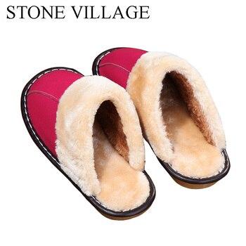 Genuine Leather slippers Warm plush Slipper women Couples Winter IndoorOutside Flats women slippers shoes Women home Slippers 5