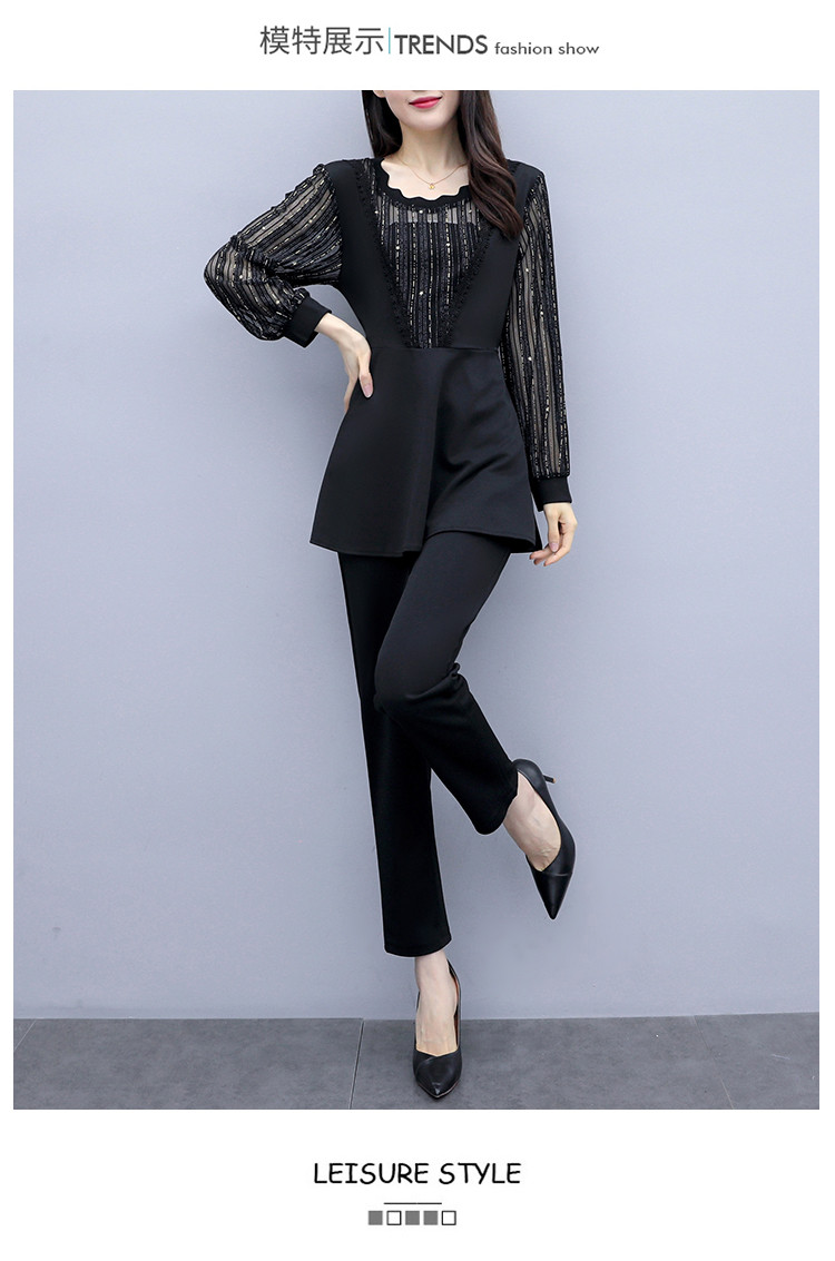 Plus Size Autumn Black Two Piece Sets Outfits Women Long Fake Two Pieces Tops And Pants Suit Elegant Korean Ol Style 2 Piece Set 33