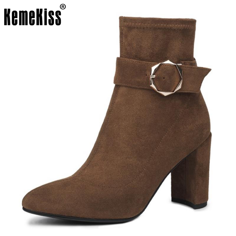 KemeKiss Ladies Real Leather High Heel Ankle Boots Woemn Wedges Zipper Round Toe Shoes Female Autumn Leisure Footwear Size 34-39 esveva 2016 sequined platform women boots autumn fashion boots wedges high heel leisure round toe ladies ankle boot size 34 39