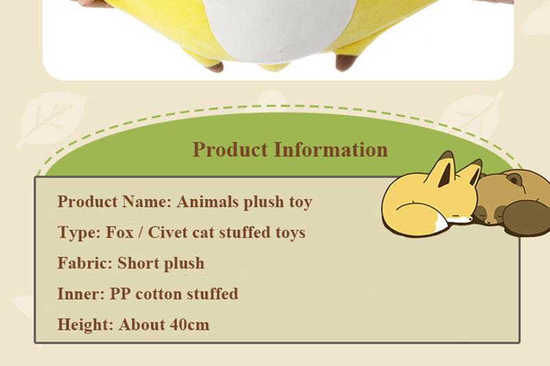 1pcs 40cm Super Cute Fox Plush Dolls Toy Civet Cat Stuffed Animal Plush Toys for Baby Kids BirthdayXmas Gift (4)
