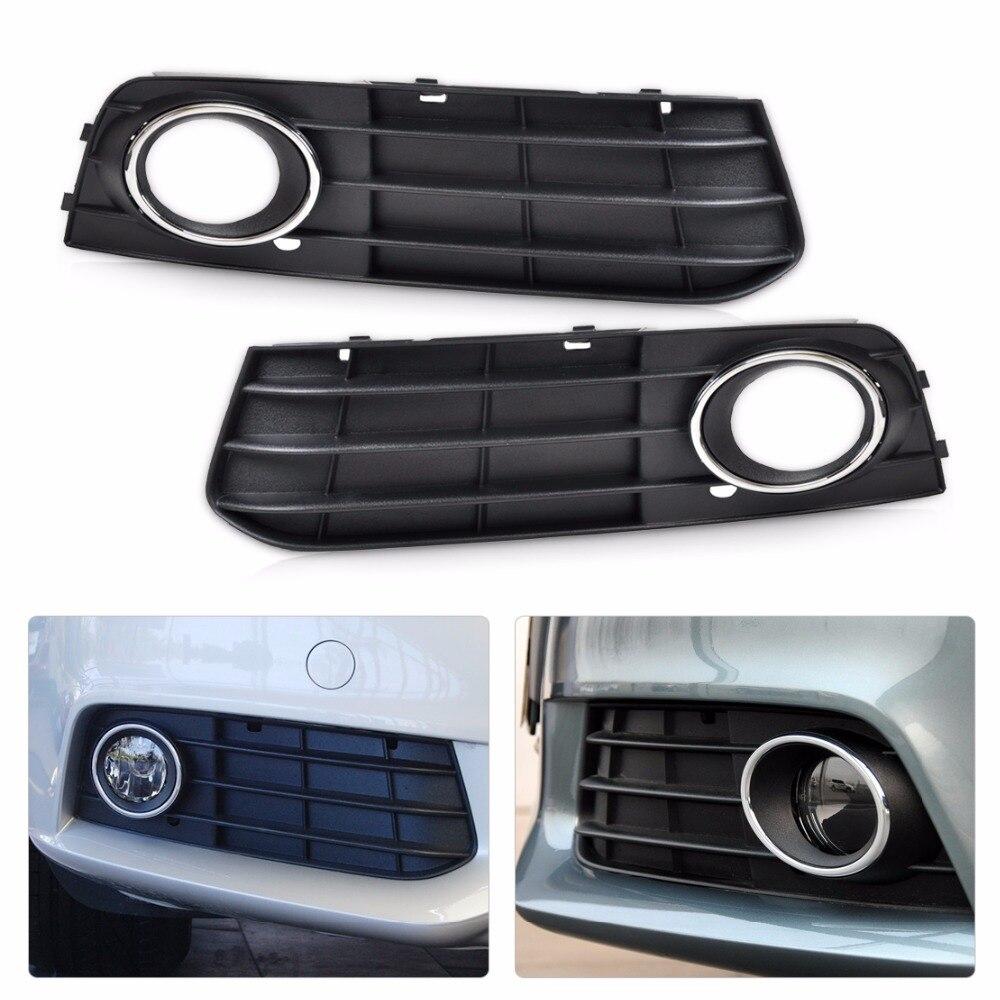 DWCX 8K0807681A 01C, 8K0807682A 01C Front Left + Right Bumper Fog Lamp Cover Grille For Audi A4 B8 2008 2009 2010 2011 2012 fog light grill for audi a4 s line s4 2013 2014 2015 front bumper grille foglamp cover left