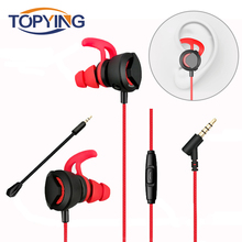 TOPYING In-Ear Earphone 3.5mm Typc C Wired Headset for PUBG Gamer Gaming Headphone Hi-Fi Earbuds With Dual Microphone Detachable