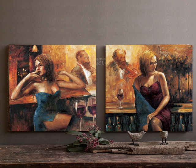 Wall Decor For Home Bar : Aliexpress buy bar girl hong painting home