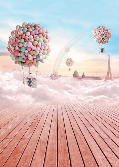 Customize washable wrinkle free fairy sky balloon rainbow ...
