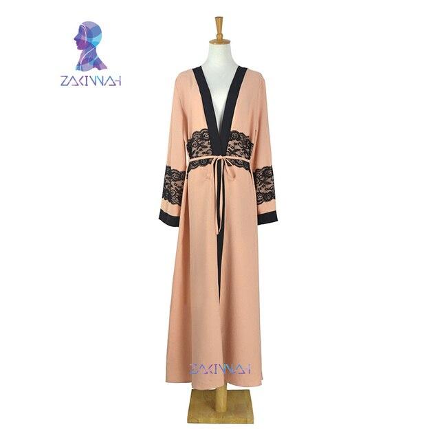 Новая мода женская макси длинное платье с длинным рукавом кружева кафтан Исламский абая Мусульманская одежда Турецкий арабский Халаты бесплатная доставка