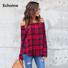 Womens Plaid Shirt Blouse Sexy Off Shoulder Tops Camisa Feminina Woman Autumn Long Sleeve Chemise Femme