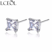 LCEOL Trendy Classic Silver Color Paved AAA Square Cubic Zirconia Stud Earrings for Women Men Party Fashion Jewelry Earrings недорого