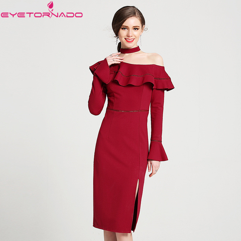 Flare sleeve sexy bodycon party dress Slash neck choker work office off the shoulder solid red split spring women dress mix wind sexy off shoulder cotton knitted women mini bodycon dress slim long flare sleeve autumn strapless sweater dress red