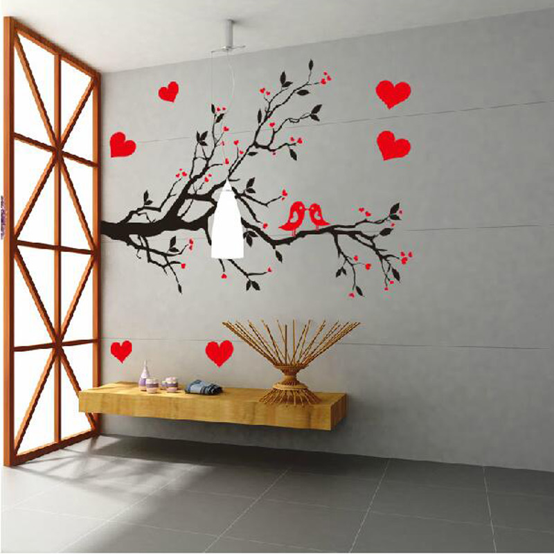 Fashion Red Love Heart Wall Decor Vintage Life Tree Wall Sticker Home Decor  Romantic Birds Wall Sticker Wallpaper Free Shipping In Wall Stickers From  Home ... Part 91