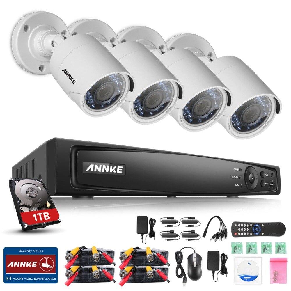 ANNKE 1080P 4CH HD TVI 4in1 DVR VCA 2MP IR Day Night CCTV Camera Security System with 1TB HDD