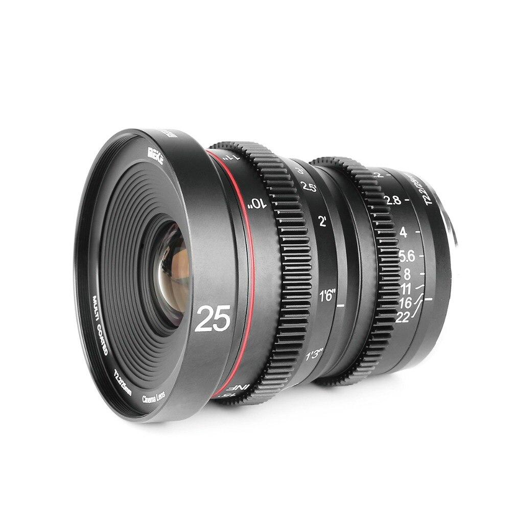 Meike MK 25mm T2.2 Mise Au Point Manuelle Asphérique Portrait Cine Objectif pour Micro Quatre Tiers (MFT, m4/3) Mont Olympus Panasonic