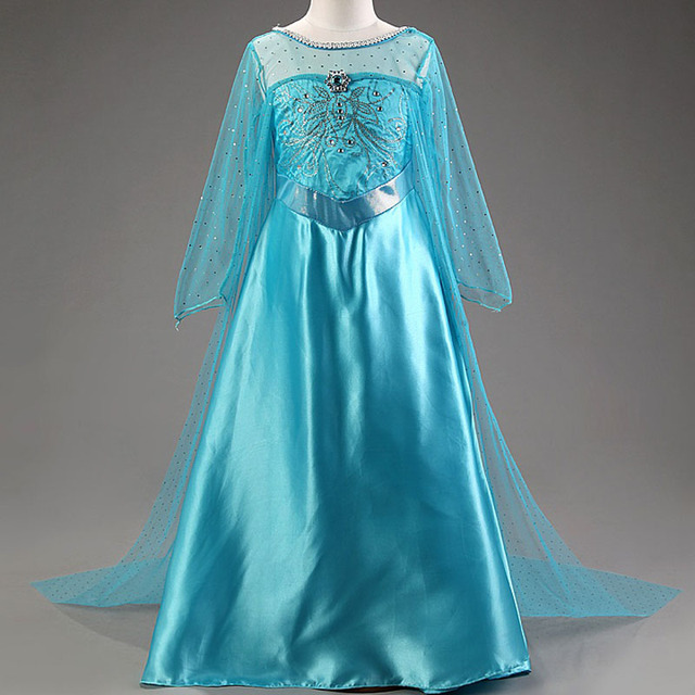 New Elsa dress long sleeve girls costume snow queen cosplay dress princess Anna girls clothes vestidos infantis disfraz 1
