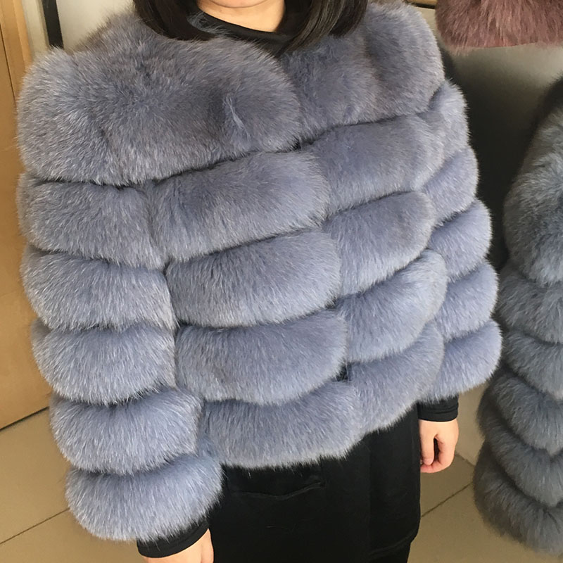 maomaokong 50CM Natural Real Fox Fur CoatWomen Winter natural fur Vest Jacket Fashion silm Outwear Real Fox Fur Vest Coat Fox 27