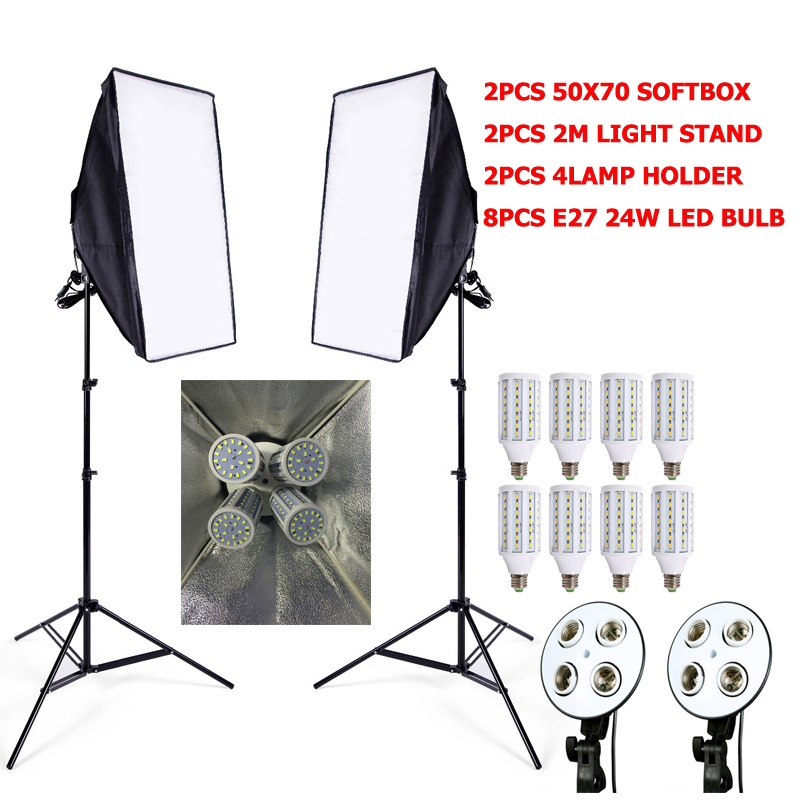 Photographic Lighting 8pcs 24w LED E27 Bulb+2pcs light stand+ 2ps softbox flash reflector switch Photo studio video lighting kit photographic lighting led film light nicefoto mf 2000f video photo studio flash light lamp power 200w 5500k with dc ac input