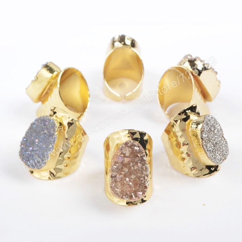 BOROSA 5 teile / los Gold Farbe Oval Natürlichen Kristall Druzy - Modeschmuck - Foto 2
