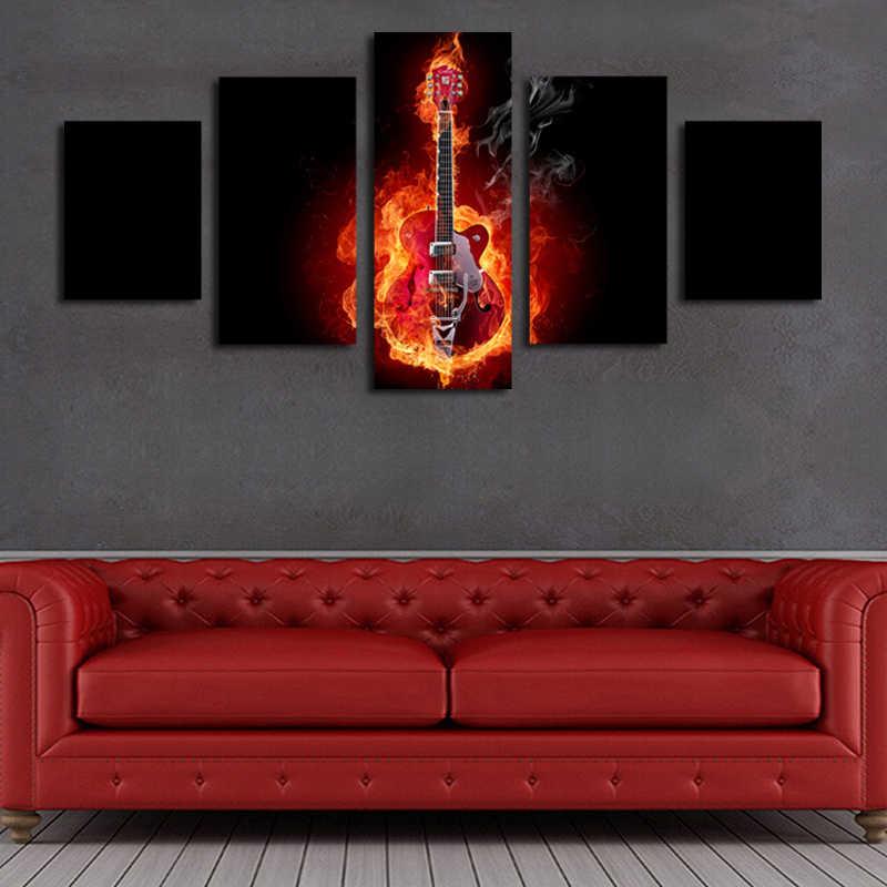 2017 картина маслом 5 шт. гитара с изображением пламени Hd Картина Современный