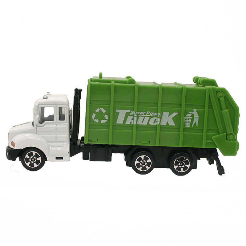 1:64 Mini Toys Cars Model Alloy Garbage Truck Engineering Green Car Model Display Stand Gift for Kids (L:W:H)17:4:8CM