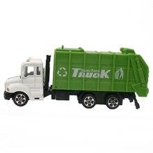 Mini voitures jouets 1:64, modèle de camion à ordures en alliage, ingénierie, modèle de voiture verte, présentoir cadeau pour enfants (L:W:H)17:4:8CM