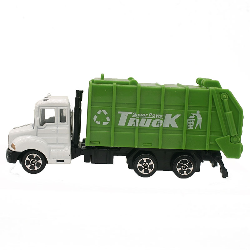 1:64 Mini <font><b>Toys</b></font> <font><b>Cars</b></font> Model Alloy Garbage Truck Engineering Green <font><b>Car</b></font> Model Display Stand Gift for Kids (L:W:H)17:4:8CM image