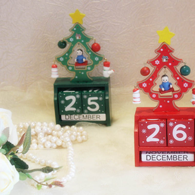 handmade wooden christmas advent calendar countdown xmas new year ornaments decor christmas tree pattern red green 1674cm 1pc in advent calendars from