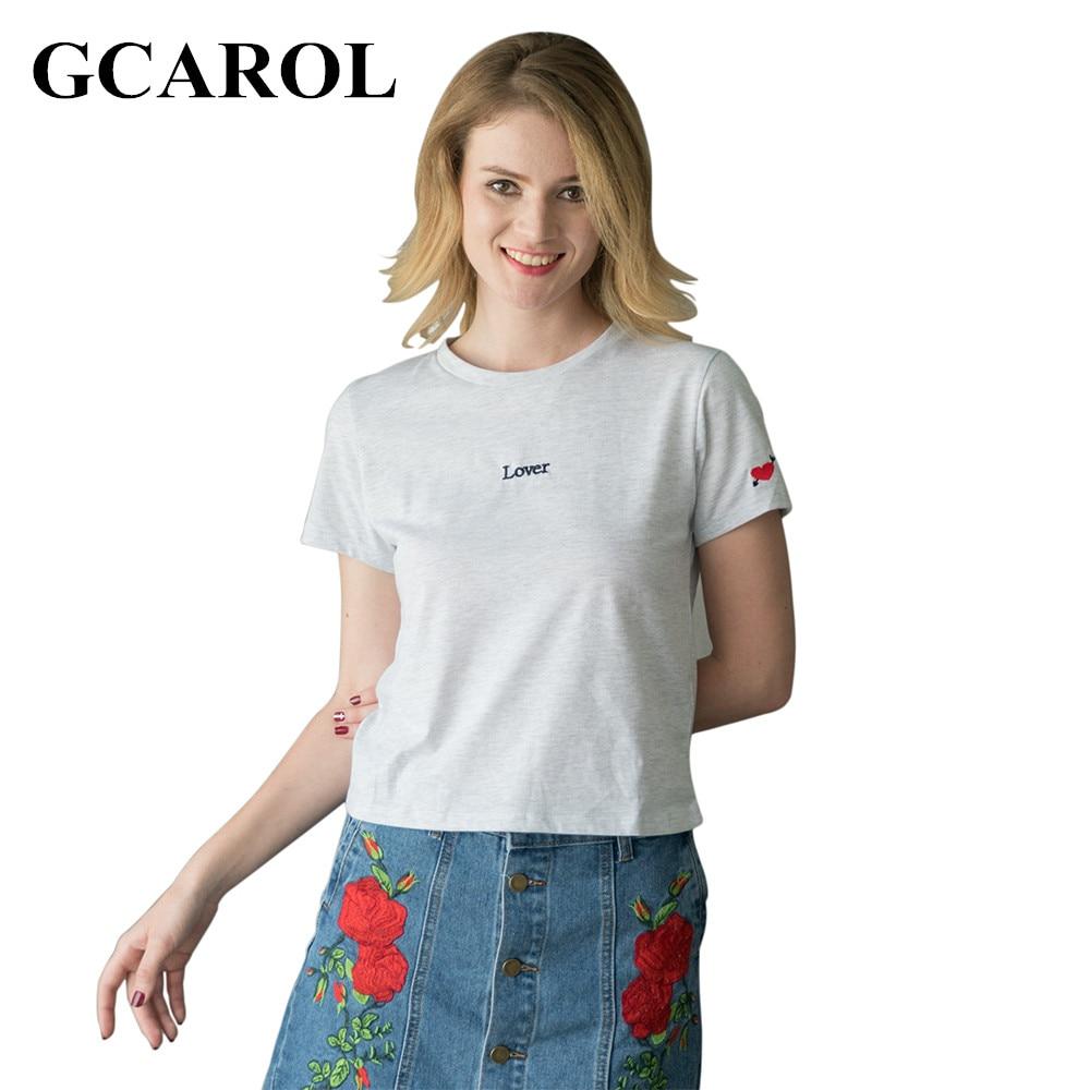 Shirt design 2017 female - Gcarol 2017 Women New Arrival Embroidery Peach Hear T Shirt Love Letter Design Stretch Tees